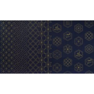 オリムパス 刺し子布 プリント 古典ながれ柄 切売り全3色 12生成 13鉄紺 20藍|ky-yoshikawa