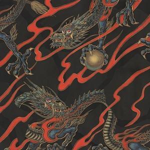 輸入 USAコットン 生地 布 ゴールデン・タツ 8698ABlack 日本の龍 竜 アレキサンダーヘンリー 商用利用可能 ky-yoshikawa