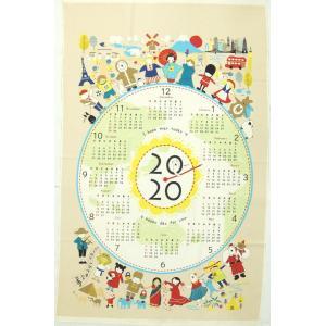 2020年 布カレンダー ポーラーベア 世界はひとつ KTS6582Aベージュ タペストリー 生地 コットンこばやし 商用利用可能 ky-yoshikawa