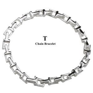 Tチェーンブレスレット シルバー 銀色 メンズ ブレスレット tチェーン リンク 18cm 20cm