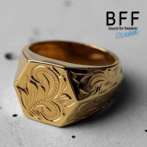 BFF ブランド プルメリアモデル 印台リング スモール 六角形  ゴールドタイプ gold 18K...
