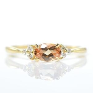 【素材/サイズ】 ◆主石名:インペリアルトパーズ ◆脇石名:ダイヤモンド(約0.08cts) ◆主石...