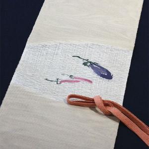 西陣織 夏物袋名古屋帯 まこと織物 紬 すくい紗八寸 京野菜シリーズ 茄子|kyo-obi-nishijinya