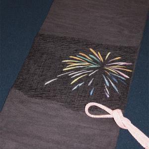 西陣織 夏物袋名古屋帯 まこと織物 紬 すくい紗八寸 花火|kyo-obi-nishijinya
