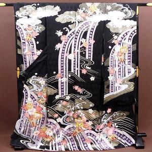 振袖セット購入 成人式振袖  お誂え仕立付フルセット ikfu6501 ブラック・黒地/花柄