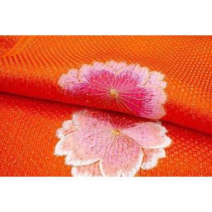 振袖用-膨れ織帯揚げ 刺繍入り mo3015 オレンジ/桜大