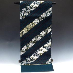 西陣正絹袋帯   yaob03501-5  深緑・モスグリーン/松竹梅