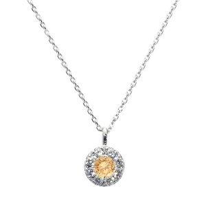 一粒0.2カラットUPの希少な天然オレンジダイヤモンドを使用した上品な輝きを放つダイヤモンドペンダン...