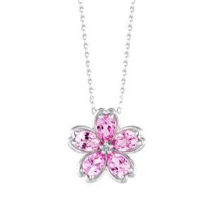 ピンクサファイア ネックレス K18ホワイトゴールド 桜 フラワー 9月誕生石 プレゼント クレサン...