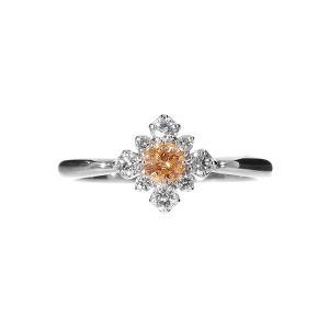 一粒0.15カラットUPの希少な天然オレンジダイヤモンドを使用した上品な輝きを放つダイヤモンドリング...