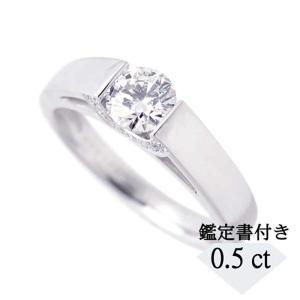 0.5カラットUPの一粒ダイヤモンドが際立つ存在感のリングです。サイドからもダイヤモンドの煌めきをご...