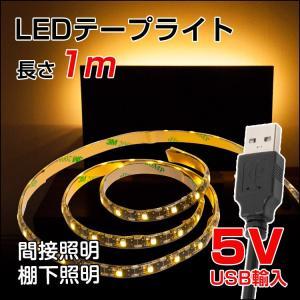 LED テープライト 防水対応 1m SMD3528 5V USB対応 LEDテープ IP65 電球色 昼光色 白 間接照明 棚下照明 LED|kyodo-store