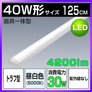 トラフ型 LEDベースライト 40W形 2灯相当 昼白色 4200lm 直管LED蛍光灯 器具一体型 一体型照明 薄型 紫外線なし 防震防虫 一体型蛍光灯 天井用 LED照明器具 kyodo-store