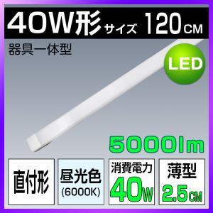 LEDベースライト 器具一体型 キッチライト シーリングタイプ  超高輝度 LED蛍光灯 直付形 薄型 昼光色 120cm 40W形?天井照明 廊下 駐車場 キッチン 倉庫 工場|kyodo-store