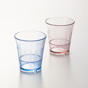 【ポリカーボネート製】ルピア タンブラー(80×87)220cc ブルー/ブラウン スリーライン[TC80]【食器 コップ プラスチック製 ガラス調 透明 グラス 業務用】|kyoeinet
