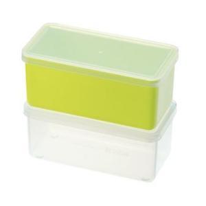 保存容器 下ごしらえや冷凍保存にも大活躍!2個セット プチキューブストッカー2pc グリーン/PC-397(EBM18-1)(538-15)|kyoeinet