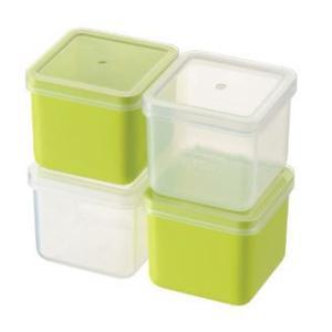 保存容器 下ごしらえや冷凍保存にも大活躍!4個セット プチキューブストッカー4pc グリーン/PC-422(EBM21-1)(700-14)|kyoeinet