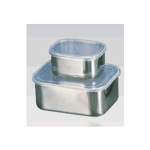 【保存容器・タッパー容器・キッチンポット】【ステンレス製】18-8 角フリーザー 深型 大 186×142×H77mm 1.7L(6-0207-2301)|kyoeinet