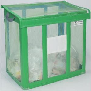 送料無料 資源ゴミ回収用・ゴミ回収ステーション 持ち運び簡単 イベントなどに 自立ゴミ枠 折りたたみ式 緑 650L (テラモト)[DS-261-002-1]|kyoeinet