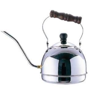 コーヒーポット 電磁調理器対応! 18-8ステンレス製 木柄 ドリップケトル 1.5L (7-0854-1901)|kyoeinet