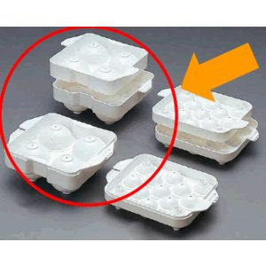 【製氷皿・製氷機・アイストレー】【プラスチック製】【簡単にまんまるの氷が作れます♪】PE まるまる氷 大(Ф50mm×4ヶ取)(152×125×H58mm) (6-0844-0501)|kyoeinet