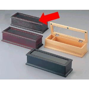 【箸箱】【卓上備品】【木製はし箱】木製 箸箱 黒焼杉 M40-575(楊枝入り付) (6-1795-1201)|kyoeinet