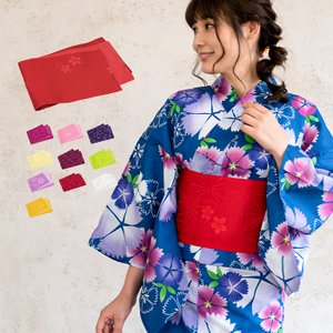 浴衣コーディネート人気商品、存在感抜群の地紋入りの浴衣帯(半幅帯)です。 日本屈指の帯メーカー製で軽...