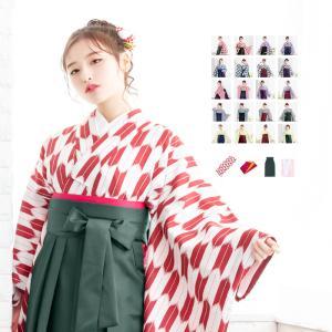 (袴4点セット 矢絣 ショート L)袴セット 卒業式 袴 セット 女性 16colors 振袖 レト...