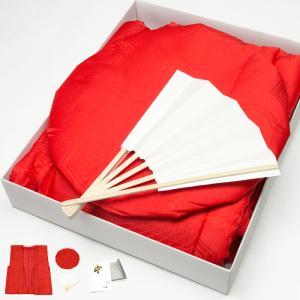 ■ 商 品 情 報 《鶴と亀甲綸子柄 日本製生地 厚手綿入り 赤色ちゃんちゃんこセット》 「赤色頭巾...
