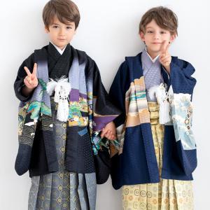 コーディネート済みの羽織と着物、袴の12点五歳男児用の羽織袴フルセット。 数々のブランド着物を...