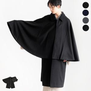 《メンズ ウール混 トンビコート》  カラー: (1)黒(BLACK) (2)グレー(GRAY) (...