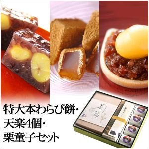 特大本わらび餅・栗最中天楽4個・栗童子セット「のし紙可」