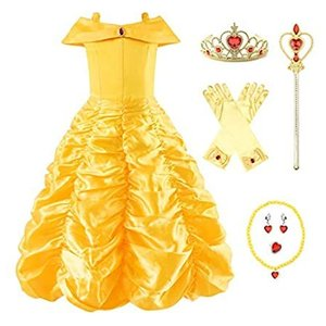 Uhdear Girl's Off Shoulder Princess Dress Layered Costume with Aceessories