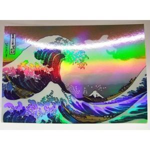 見る角度によって光る色が変わります♪ 有名な富嶽三十六景の富士山と波をお楽しみください!