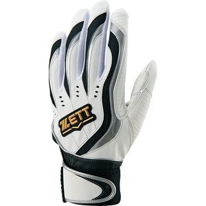 ZETT ゼット バッティング用手袋(両手用) インパクトゼット 一般用 BG997 ホワイト/ブラク
