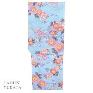 浴衣 レディース  4701 女性 浴衣 仕立上がり 浴衣 フリーサイズ 水色|kyonenya