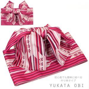 作り帯 レディース 浴衣 帯 ゆかた帯  浴衣帯 結び帯 付け帯 付帯  5140 ピンク レトロ かわいい|kyonenya