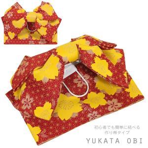 作り帯 レディース 浴衣 帯 ゆかた帯 結び帯 付け帯  女性 レッド 赤 かわいい レトロ 5177|kyonenya