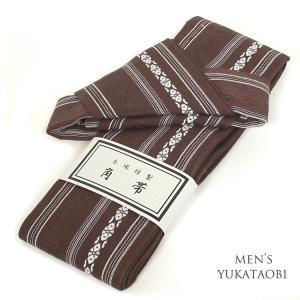 男物 浴衣 結び帯 作り帯 茶 メンズ 浴衣 小物 ワンタッチ帯 ゆかた 帯 ブラウン 献上柄 5336|kyonenya