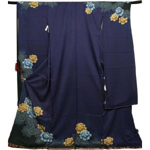 振袖 ブランド・KENZO 仮仕立て 成人式 結婚式 振袖 正絹 地色 紺 71021 kyonenya