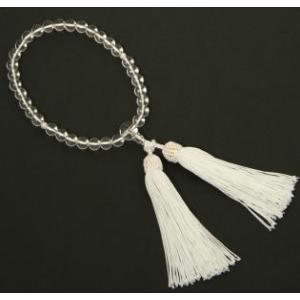 数珠 女性用 念珠 水晶 (真珠入り) J1106|kyonenya