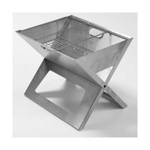 ポータブルBBQグリル ノートブックSS シルバースモール ステンレス製 ダイレクトデザイン(折りたたみバーベキューコンロ)|kyoto-e-jiro
