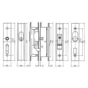 WEST ウエスト 324-S1805-BT 塗装ブロンズ(朝日工業Kシリーズ KH-AB 万能型引違戸錠)ウエスト324BT(ウエストCL770)|kyoto-e-jiro|02