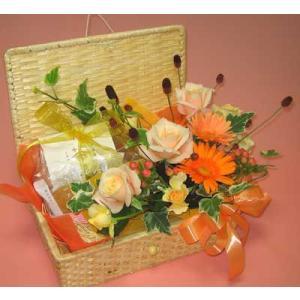 花とグルメシリーズ シーズンフラワーと京焼菓子のバスケット
