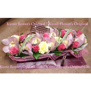 フラワーケーキ*バータイプ バラと洋蘭のバーケーキ|kyoto-flower