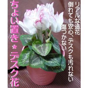 ミニシクラメン 大人気のミニフラワーがリアルアーティフィシャルで登場 白×ぼかしピンク|kyoto-flower