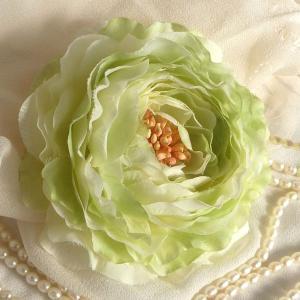 コサージュ 兼 髪飾り ラナンキュラス・ジューンブライド クリスタル又はパール付|kyoto-flower