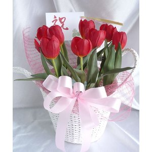 造花の鉢植え*お花が溢れるチューリップ*お試し価格*御祝い用推奨品【送料無料】|kyoto-flower