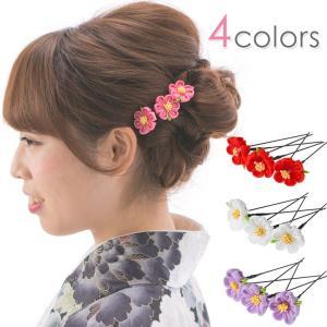 髪飾り Uピン 3点セット ミニ小花 赤 ピンク 白 紫 ち...