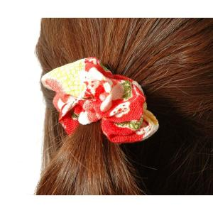 髪飾り ヘアゴム 和柄 シュシュ桜  色柄おまかせ ちりめん ヘアアクセサリー ネコポス便可|kyoto-miyabi